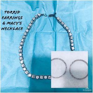 NEW Torrid Earrings & Crystal Rhinestone Necklace